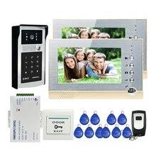 """ENVÍO de la Nueva 7 """"Grabar Video Teléfono de La Puerta Sistema de Intercomunicación 2 Monitores de Pantalla LCD + RFID Teclado de Contraseña de La Cámara Al Aire Libre + 8G SD"""