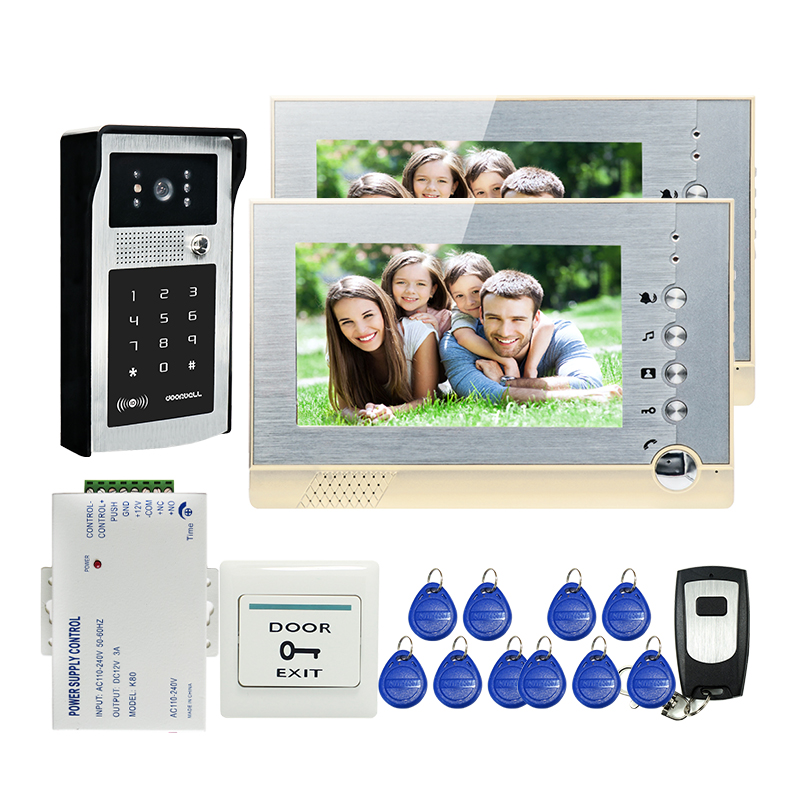 FREE SHIPPING New 7 LCD Screen Record Video Door Phone Intercom System 2 Monitors + Outdoor RFID Keypad Password Camera + 8G SD