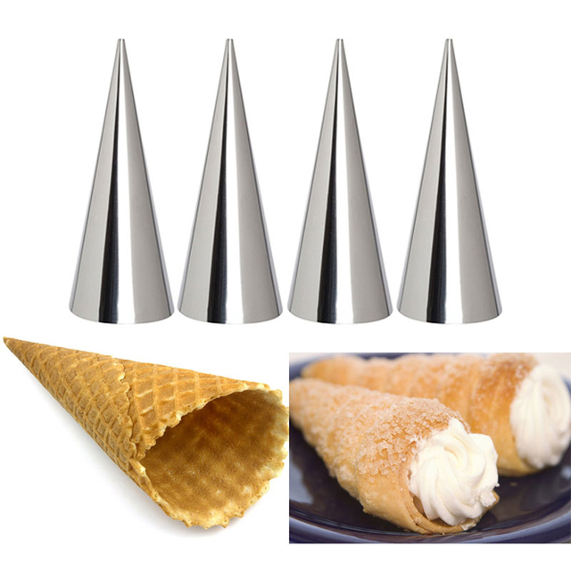 12pcs High Quality Conical Tube Cone Roll Moulds Stainless Steel Spiral Croissants Molds Pastry Cream Horn Cake Bread Mold