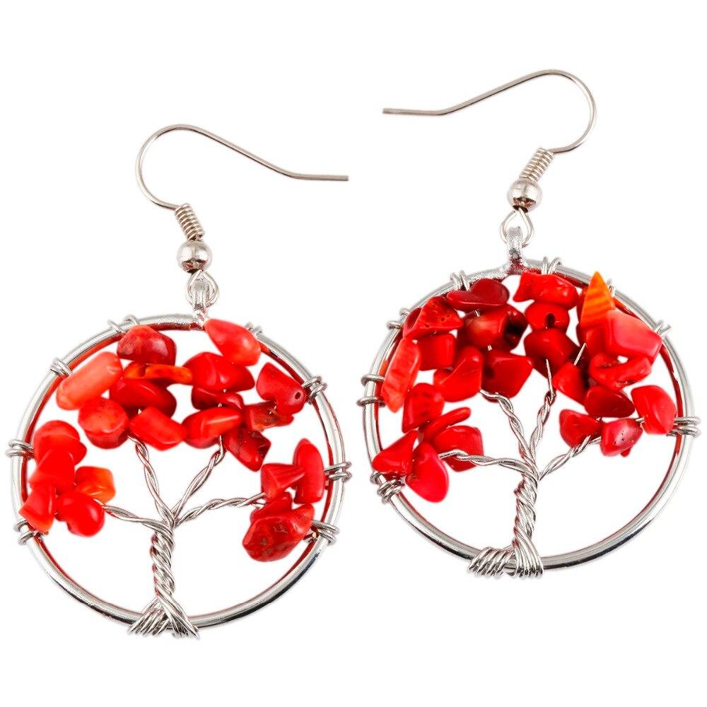 SUNYIK Red Coral Chips Stones Tree of Life Dangle Hook Earrings ...