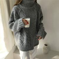 Korean xxl Winter Sweater Women Loose Turtleneck Twist Coarse Knitted Thick Warm Sweater Dress Pullover Coat Outwear