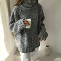 Korean xxl Winter Sweater Women Loose Turtleneck Twist Coarse Knitted Thick Warm Sweater Dress Pullover Coat Outwear