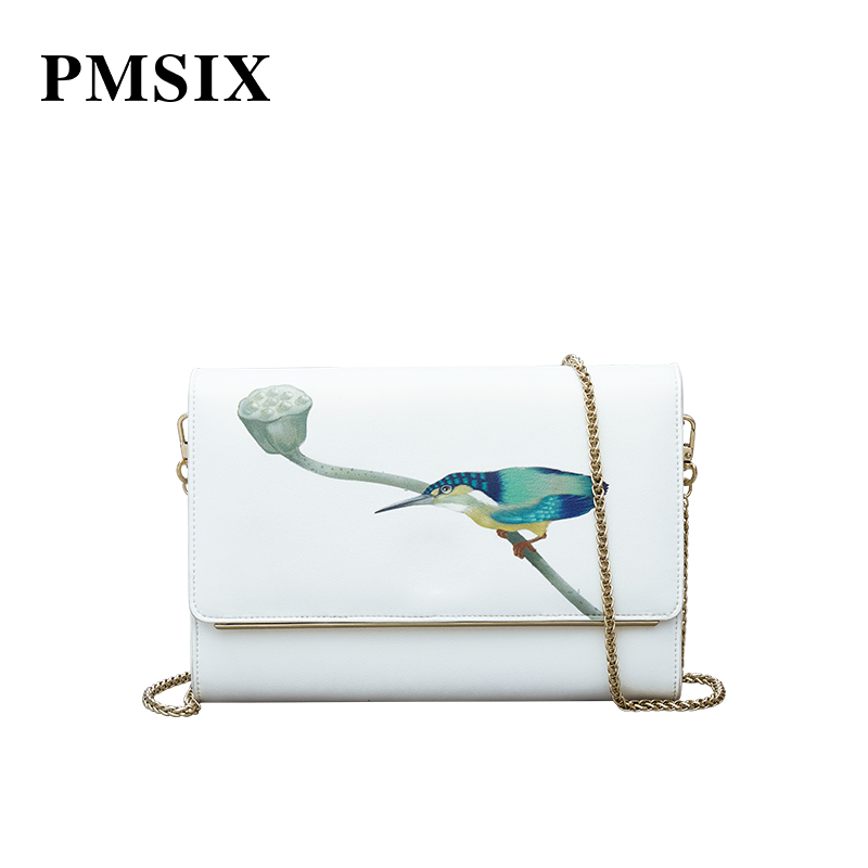 PMSIX Genuine Leather Small Shoulder Bags Women Crossbody Messenger Bags Casual Small Chain Clutch Flap Bags