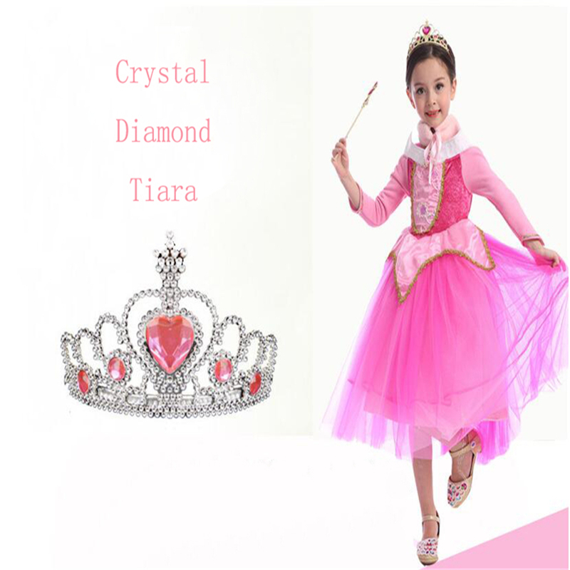 Elsa Tiaras Princess Crown Hair Accessories Crystal Diamond Candy Color Tiara Magic Wand Party Bridal Wedding Jewelry Accessory 03 red gold bride wedding hair tiaras ancient chinese empress hat bride hair piece