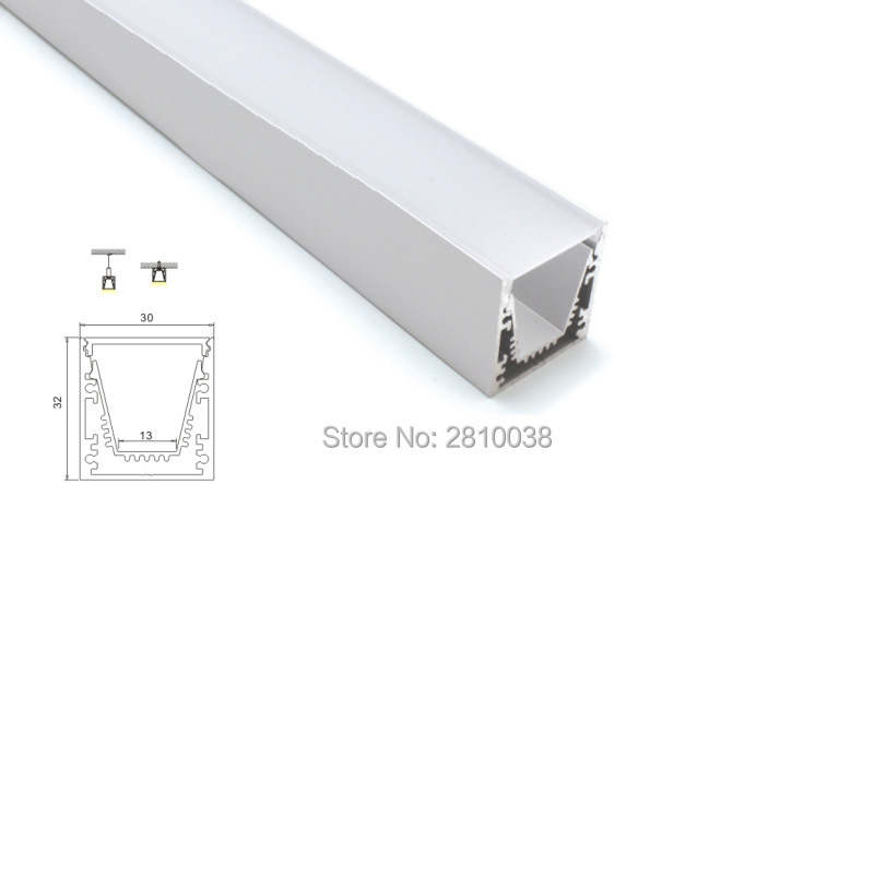 30 X 2M Sets/Lot 6000 series led profile housing Square type led aluminum profile with concave parts for ceiling lights
