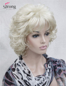 Image 3 - StrongBeauty Short Full Curly Synthetic Hair Wig For Women Platinum Blonde Color