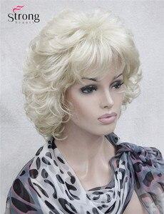 Image 3 - StrongBeauty قصيرة كامل مجعد شعر مستعار اصطناعي للنساء البلاتين شقراء اللون