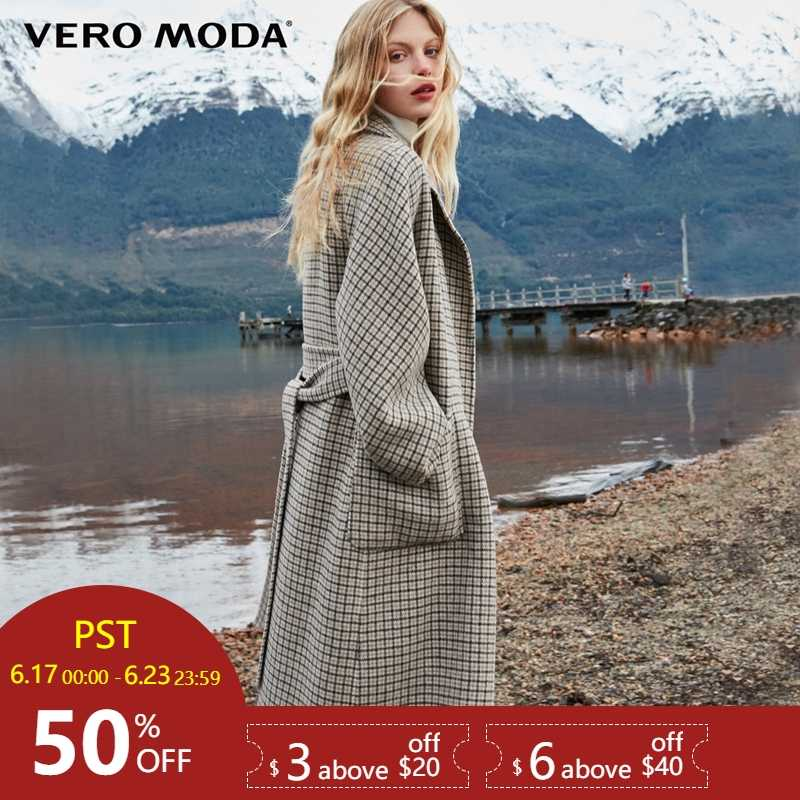 Vero Moda Women's 2019 new double-sided 100% wool long woolen overcoat | 318427508