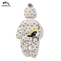 baby wool rompers clothes 2019 new spring winter double knitted jumpsuit and hat cartoon cotton romper newborn toddler clothes