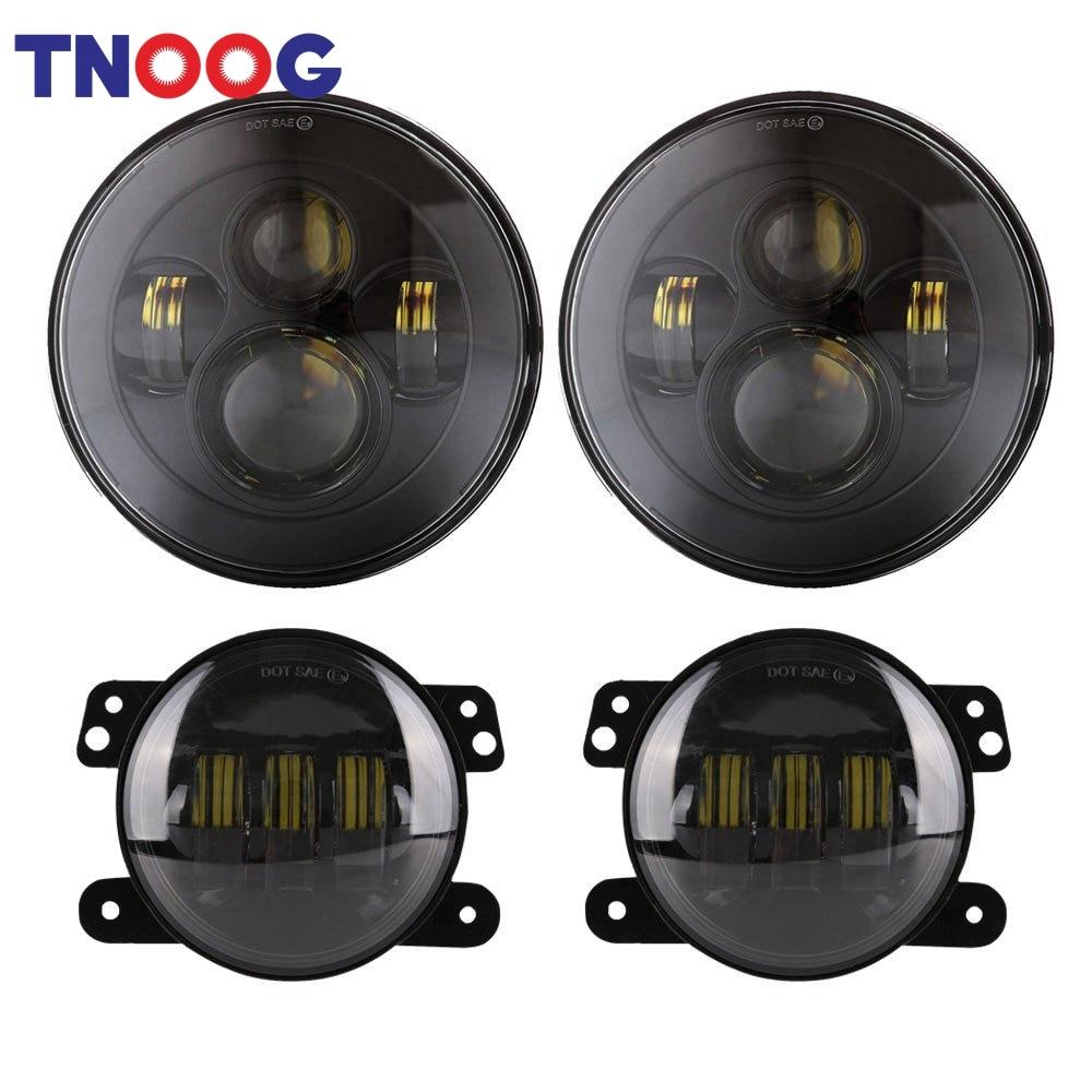 TNOOG 7 inch Daymaker LED Headlight+ 4 inch LED Fog Lights for Jeep Wrangler Unlimited JK 4 - door JK 2 Door LJ Unlimited TJ купить test drive unlimited 2 ps3 бу в москве