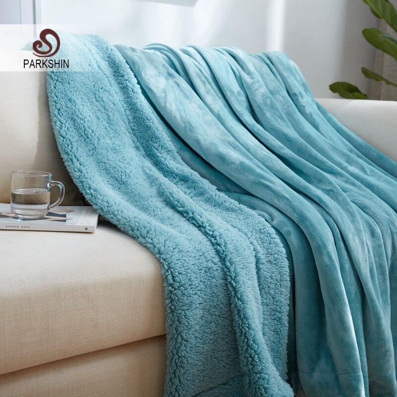 Parkshin Lake Blue Elegant Blanket Comfortable Throws Coral Fleece Soft Bedspread For Sofa Bed Home Cover