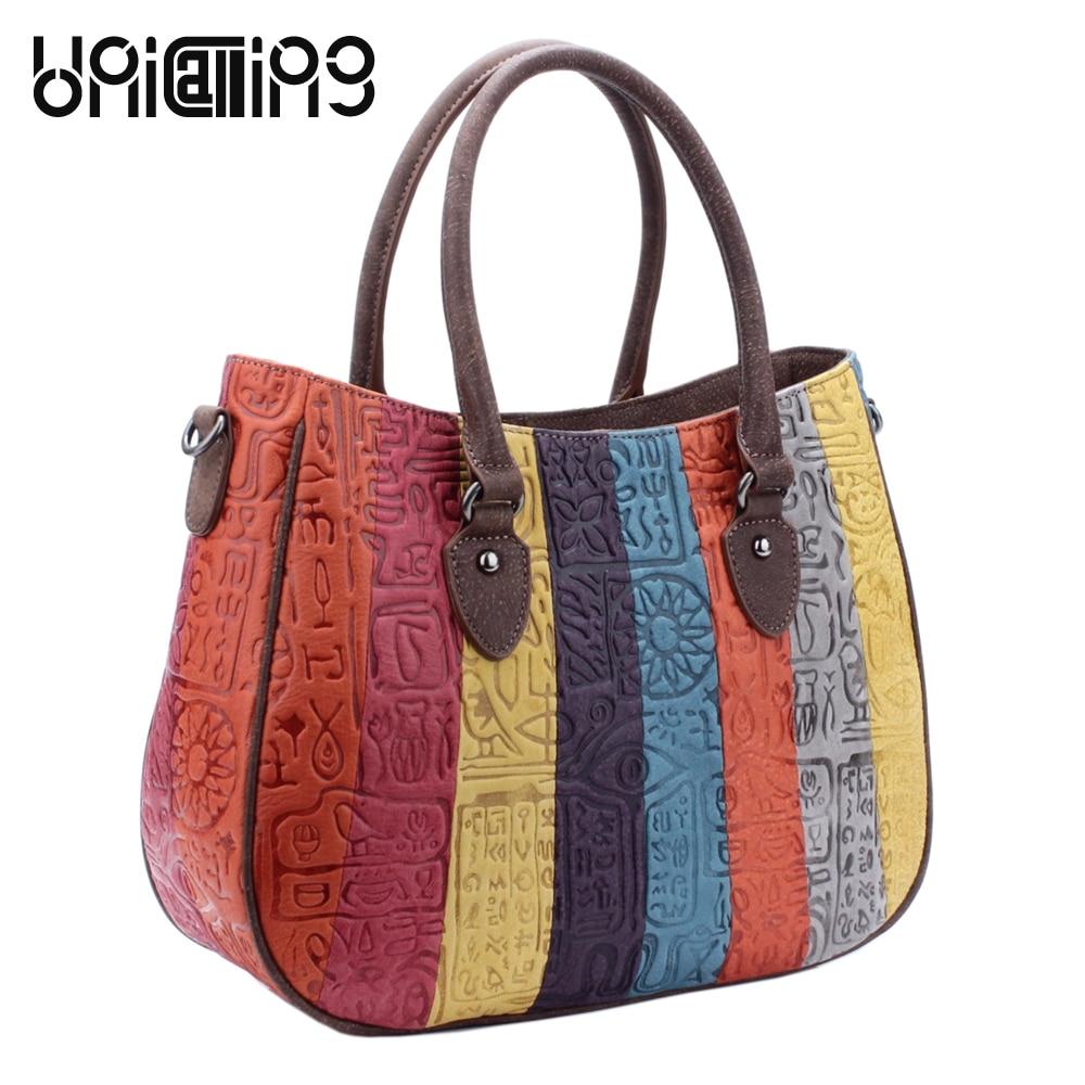 UniCalling fashion panelled genuine leather handbag shoulder bag real cow leather striped women bag hieroglyphic pattern unicalling denim