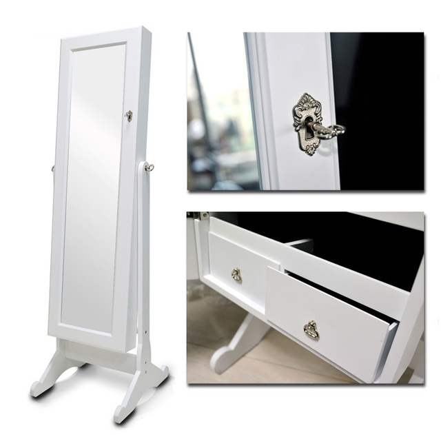 Usa Free Shipping White Wood Jewelry Box Armoire Cabinet Stand Box