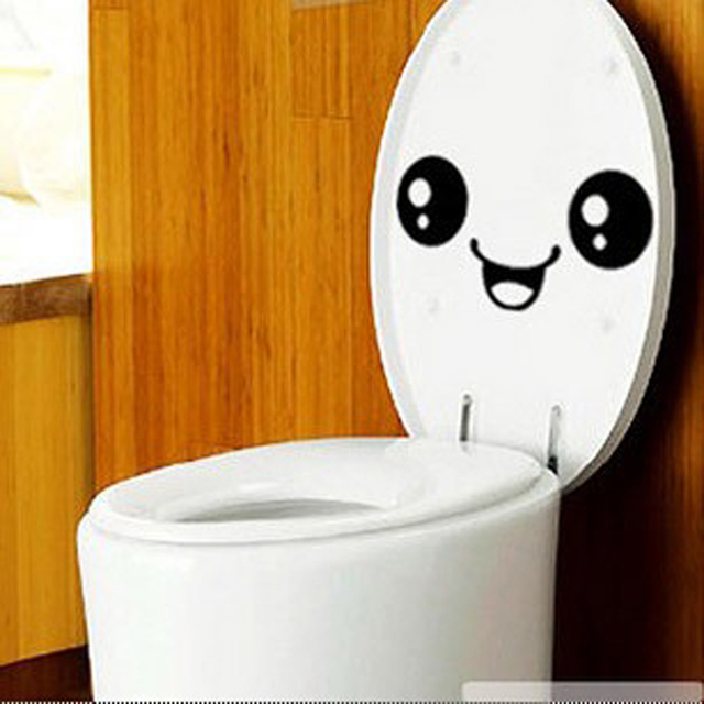 Smiley Face Toilet Sticker Emoji Bathroom Wall Decal Home Decor Removable Stickers On The