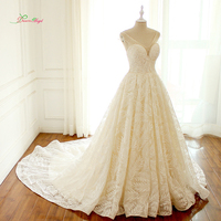 Dream Angel Sexy V Neck Lace Vintage A Line Wedding Dress 2018 Backless Cap Sleeve Beaded Bride dress Robe De Mariage Plus Size