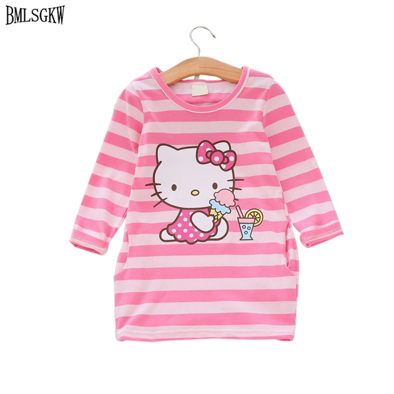 все цены на  2017 Summer Girls Dress Hello Kitty Cartoon Kids Dresses For Girl Clothes 2-7Y Children Vestidos Costume Roupas Infantis Menina  в интернете