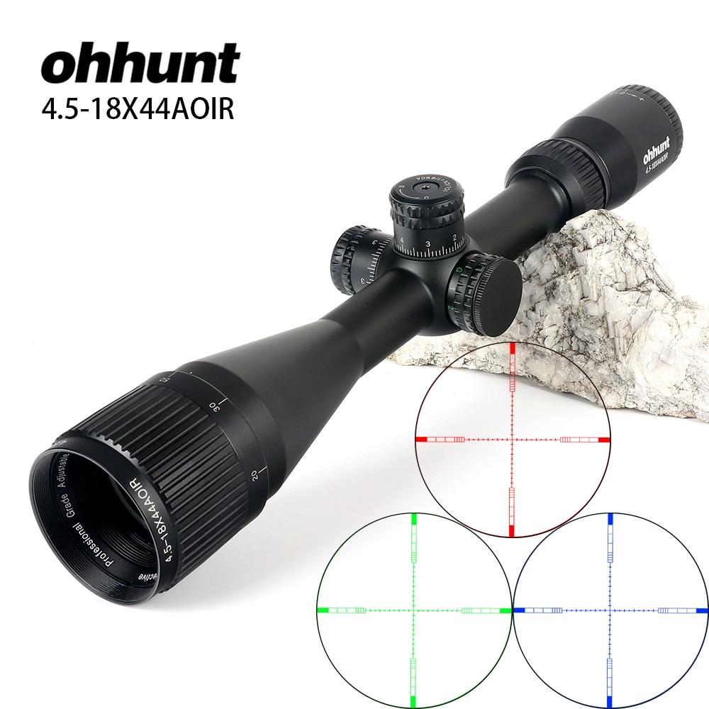 ohhunt 4 5 18X44 AOIR Hunting Optical Full Size Riflescopes R G B Illuminated Reticle 1