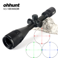 ohhunt 4.5 18X44 AOIR Hunting Optical Full Size Riflescopes R/G/B Illuminated Reticle 1 inch Tube Lock Reset Rifle Scope Sight