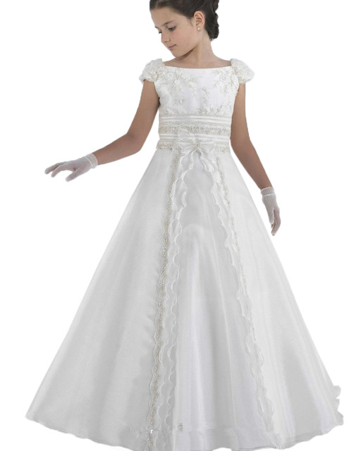 Elegant Baptism Lace White Flower Girls Party Dresses Kids Floor Length Off The Shoulder Princess Holy First Communion Dress white lace details off the shoulder self tie jumpsuit