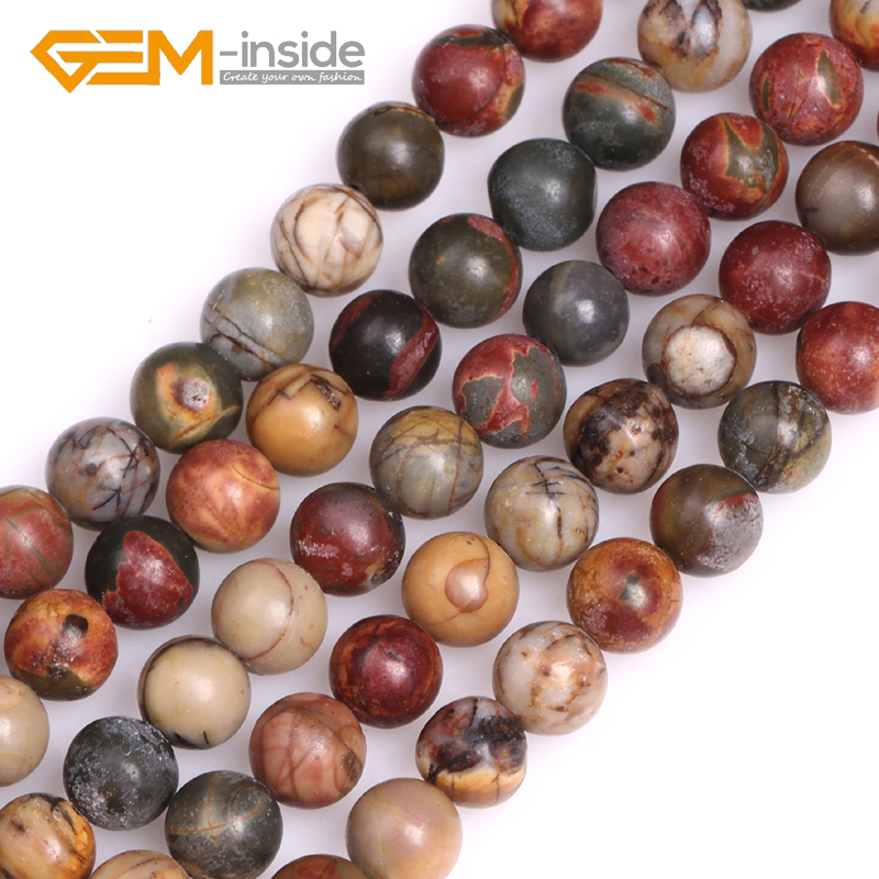 Round Picasso Jaspe r Beads: 4mm to 16mm Natural Stone Beads DIY Loose Beads For Bracelet necklace Making Strand 15 DIY Gift