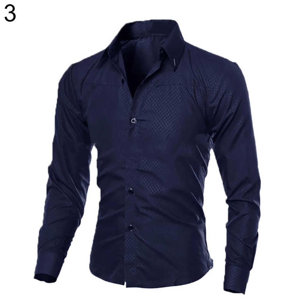 2019 フォーマル男性シャツ男性の長袖スリムフィットシャツボタンフロントビジネス仕事フォーマルカジュアルトップ