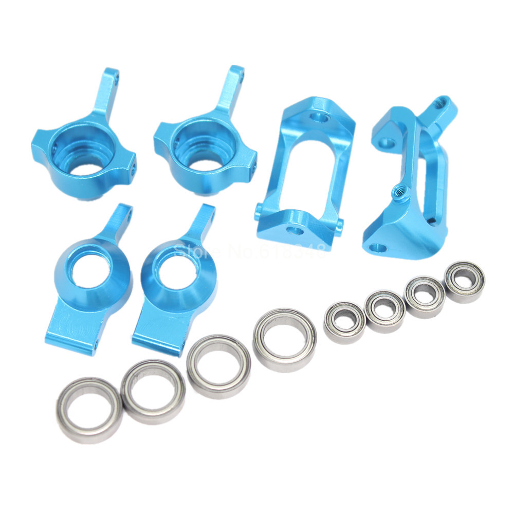 Aluminum Front Rear Steering Hub Base C Carrier Ball Bearings Upgrade Kit For Wltoys A959 Vortex 1/18 Electric RC Car Buggy Part alloy aluminum rear hub carrier l r m604 23604 for rc car 1 18 himoto e18 electric truck buggy on road maverick ion xb ion m
