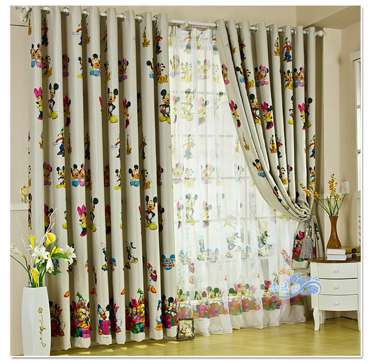 Cartoon Sailing Ship Design Shading Curtain Blackout: Hot Textiles Cartoon Mickey Bedroom Curtain Blackout