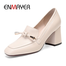 ENMAYER  Genuine Leather Square Toe Casual Slip-On Tacones Mujer Ladies Shoes Women Sandals Size 34-39 ZYL2582