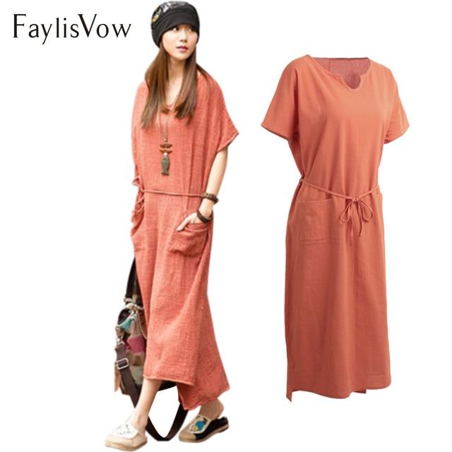 4XL 5XL Short Sleeve Cotton Linen Dress Vintage Belt Pockets Solid Loose  Summer Dresses Plus Size Womens Ankle Length Maxi Dress