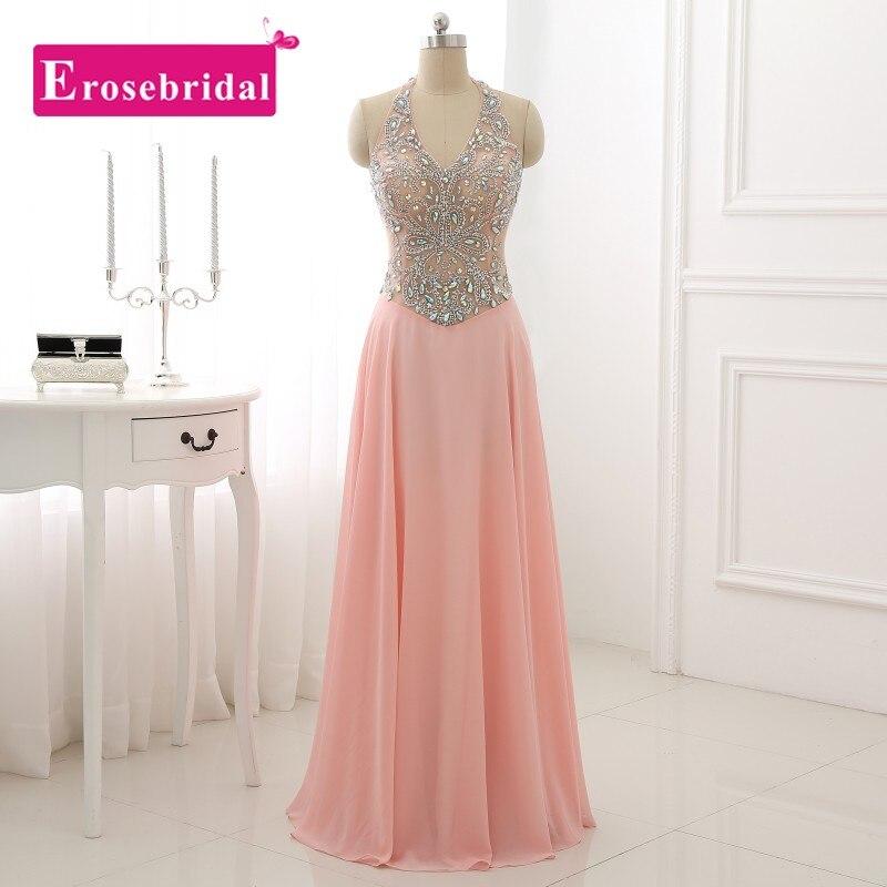 Baratos Bastante gasa halter pink prom dress un line rebordear sin ...