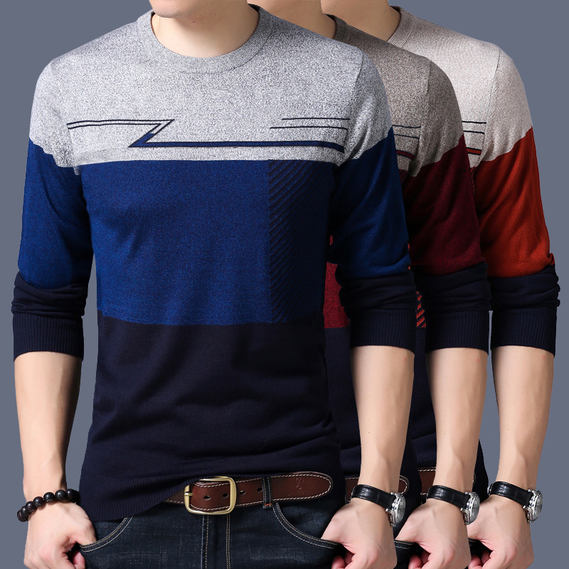 New Spring Autumn Fashion Brand Casual Sweater O-Neck Striped Slim Fit Knitted Mens Swea ...