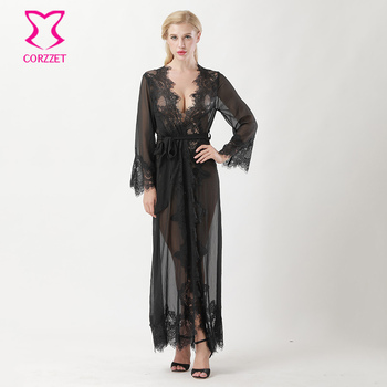 Black Transparent Tulle With Lace Trim V Neck Long Nightgown Sleepwear Sexy Lingerie Hot Underwear Women Erotic Robe Nuisette
