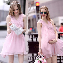 Retail Pregnant Women Dress Fashion Summer Chiffon Pregnancy Clothes Mother Dresses Sleeveless Bohemian Dress Photography Prop