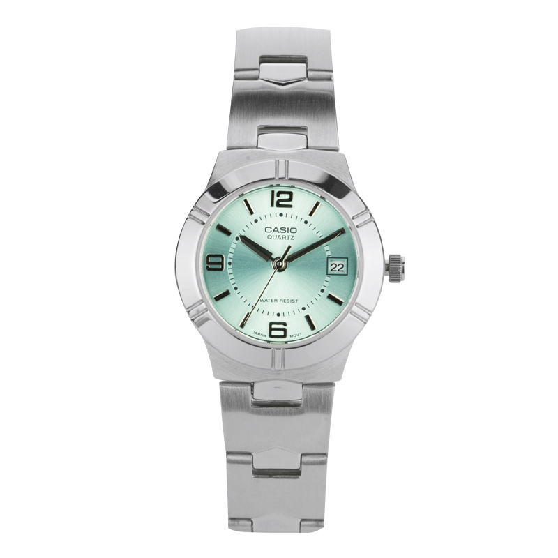 Casio watch female simple steel belt light green small plate quartz ladies watch LTP-1241D-3ACasio watch female simple steel belt light green small plate quartz ladies watch LTP-1241D-3A