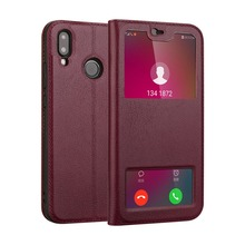 For Huawei Nova 3e Case Luxury Genuine Leather Flip Cover for Phone Bags Window View With Magnet Fundas Coque