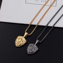 Men Shield Pendant Necklaces in Silverly Stainless Steel Be Strong And Courageous Bible Verse Christian Jewelry xlct034