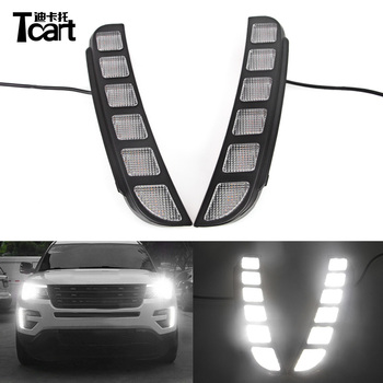Tcart 1Set For Ford Explorer 2016 2017 Car White DRL LED Daytime Running Lights Waterproof Auto Led Headlamps ABS Cover Daylight