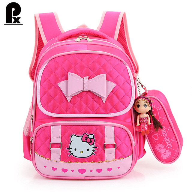 2016 New primary  school bags for teenagers girls canvas Children Backpacks cute kids pink Hello Kitty school bags sac a dos