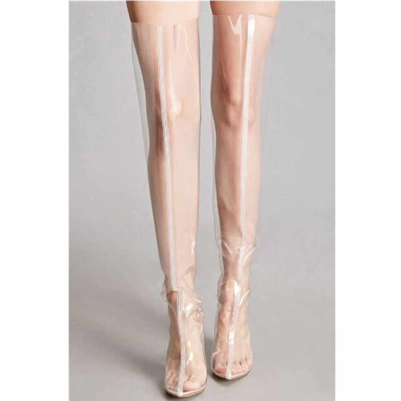 Prova Perfetto Yeni Seksi Pvc Şeffaf yağmur çizmeleri Sivri Burun Kristal Yüksek Topuklu Diz Çizmeler Üzerinde Şeffaf Ayakkabı Kadın Boyutu 48