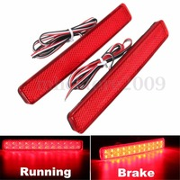 2X Red Rear Bumper Reflector LED Stop Brake Driving Light For VW T5 Transporter 2003 11