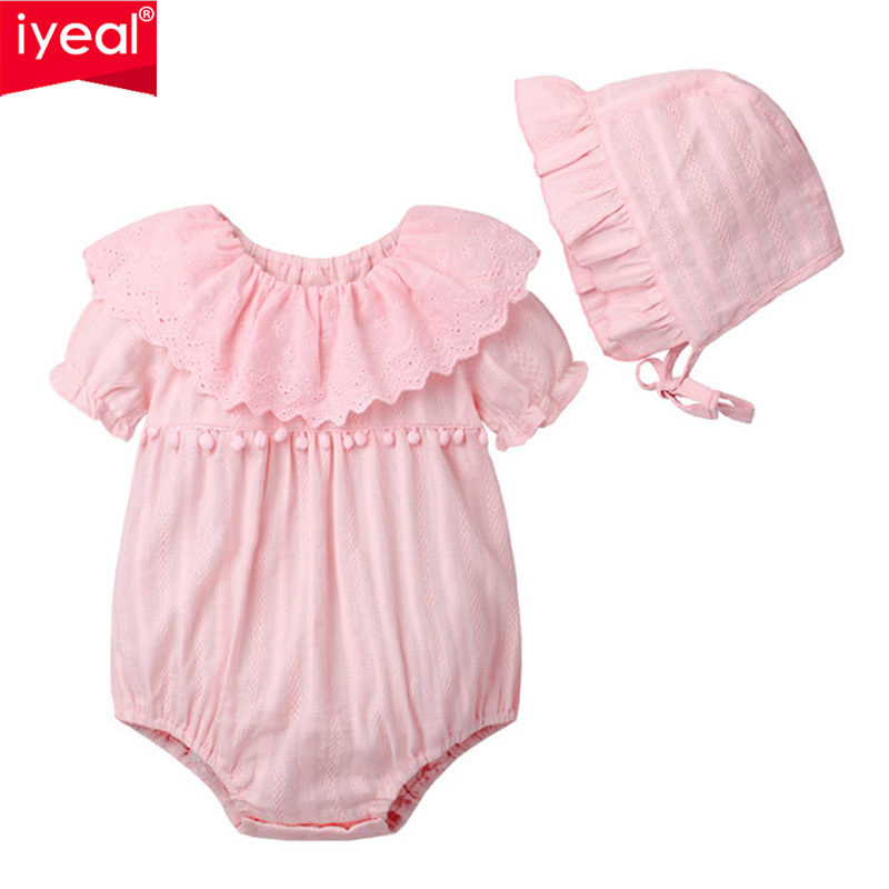 IYEAL Summer Cotton Newborn Baby Girl Rompers With Hat Infant Toddler Jumpsuit Lace Collar Short Sleeve Kids Girl Clothes 3pcs set newborn infant baby boy girl clothes 2017 summer short sleeve leopard floral romper bodysuit headband shoes outfits
