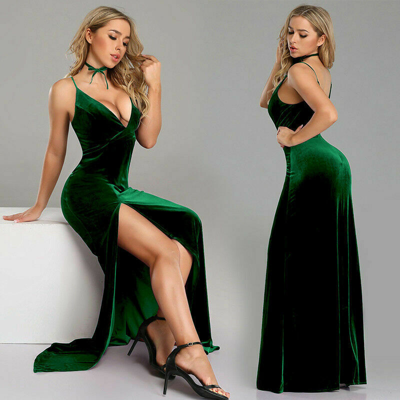 Sexy Deep V Neck Velour Long Prom   Dresses   2019 New High Slit Formal Party Gowns A-line   Evening     Dress   Custom Made