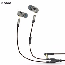 PLEXTONE Removable Ear-Shell Noise Cancelling Metallic Wired Handsfree In ear Sport Earbuds Headset with HIFI Cable for iphone