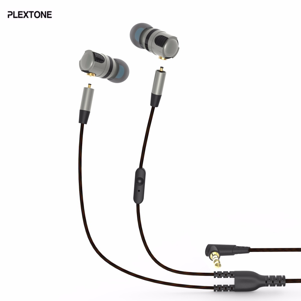 PLEXTONE Detachable Noise Cancelling Metal Handsfree In Ear Sport Earphones Running Headset HiFi for Xiaomi Smartphone iPhone