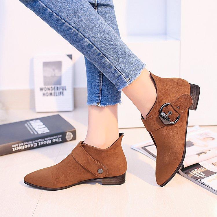 Bombas Otoño Tacones marrón Cortas Moda Sexy Gamuza Zapatos Black Puntiagudos Mujer Tobillo Casual Bajos Hebilla Botas 2017 a6Ewqq