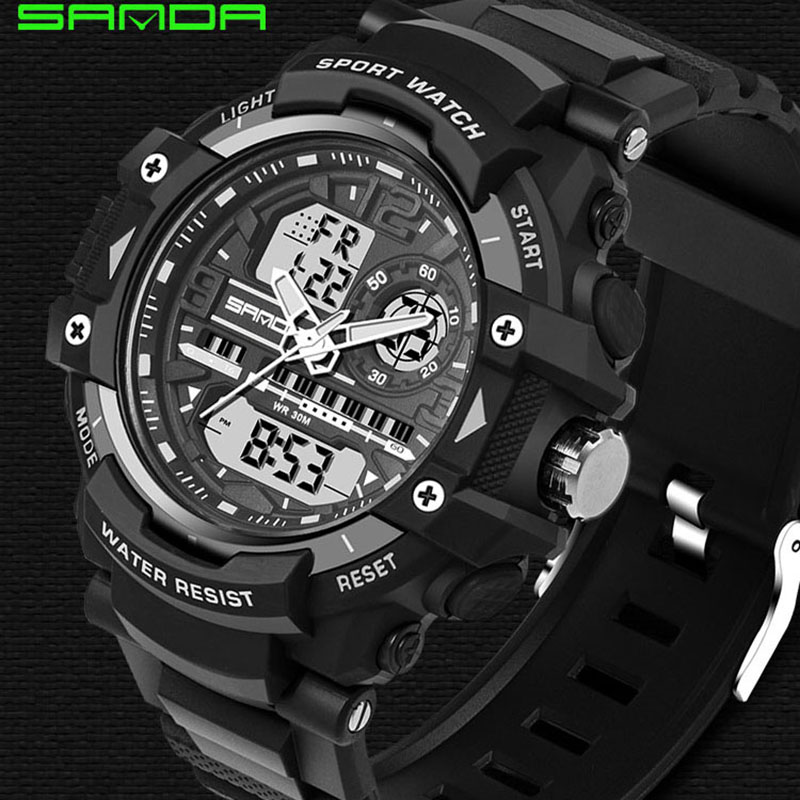 SANDA 740 Men Sports Watches Waterproof Fashion Casual Quartz Watch Digital  Analog Military Multifunctional Wristwatches Reloj weide new men quartz casual watch army military sports watch waterproof back light men watches alarm clock multiple time zone