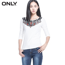 ONLY Brand Women cotton and modal comfortable solid casual T-shirt ladies three quarter chic national style tops 114301012