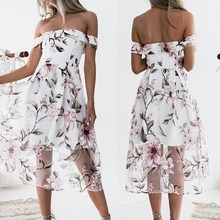 Women Dresses Off Shoulder Vintage Dresses Summer Slash Neck Retro Mesh Slim Print Party Dress Vestidos vintage mesh panel leaf print dress