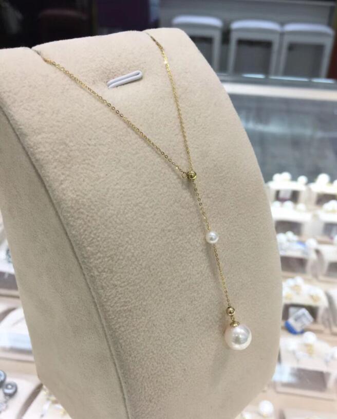free shipping Natural 4mm  8-9mm akoya pearl necklace 18 k solid goldfree shipping Natural 4mm  8-9mm akoya pearl necklace 18 k solid gold