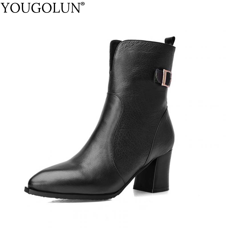 YOUGOLUN Autumn Winter Women Ankle Boots Genuine Leather Thick Heel 6.5 cm High Heels Black Buckle Pointed toe Zip Shoes #Y-258 nemaone women ankle boots winter genuine nubuck leather black thick heel 12cm super high heels platform round toe shoes